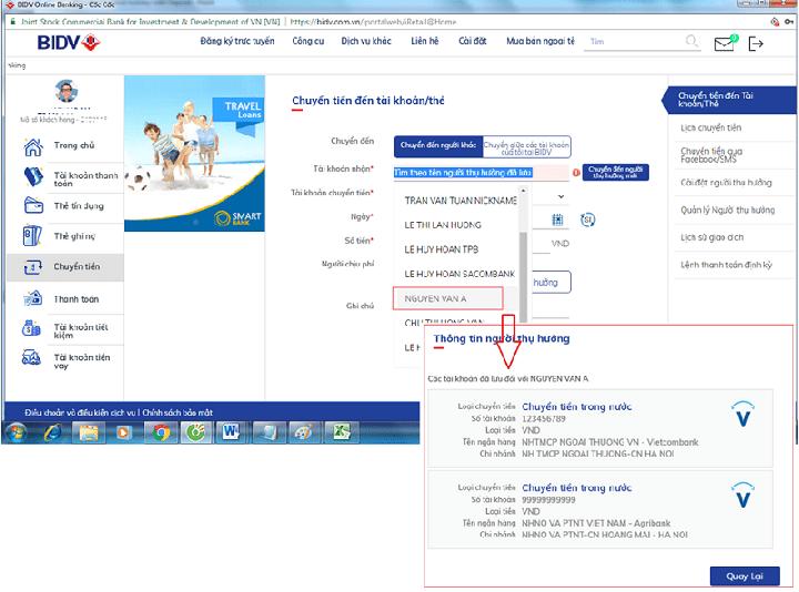 Thực hiện chuyển tiền qua internet banking